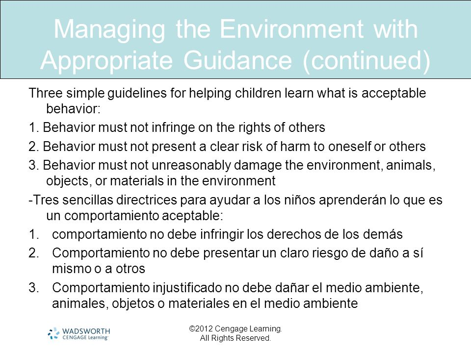 Managing the Environment with Appropriate Guidance (continued)