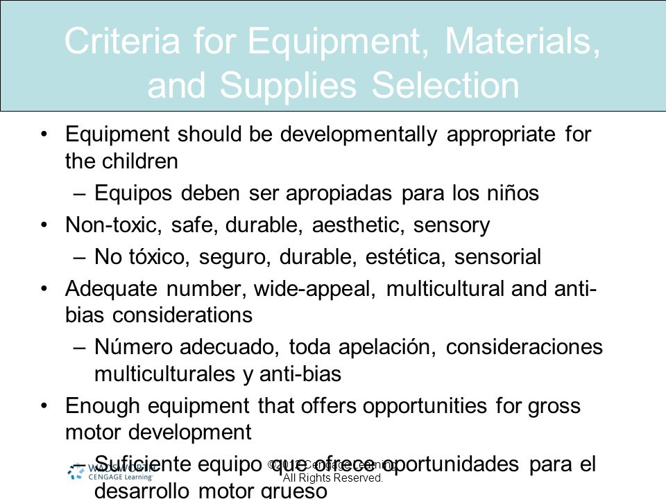 Criteria for Equipment, Materials, and Supplies Selection