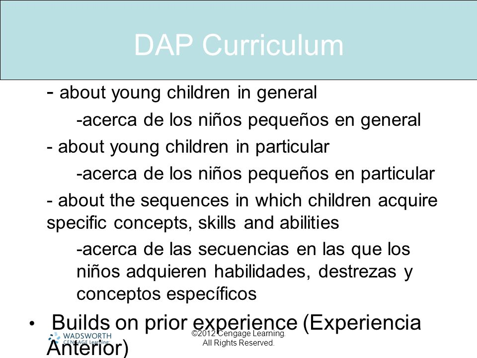 DAP Curriculum - about young children in general