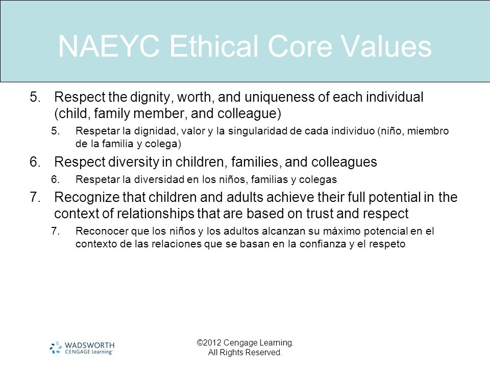 NAEYC Ethical Core Values