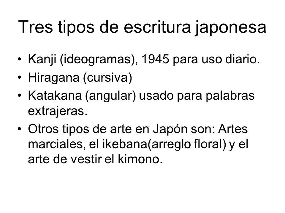 Tres tipos de escritura japonesa