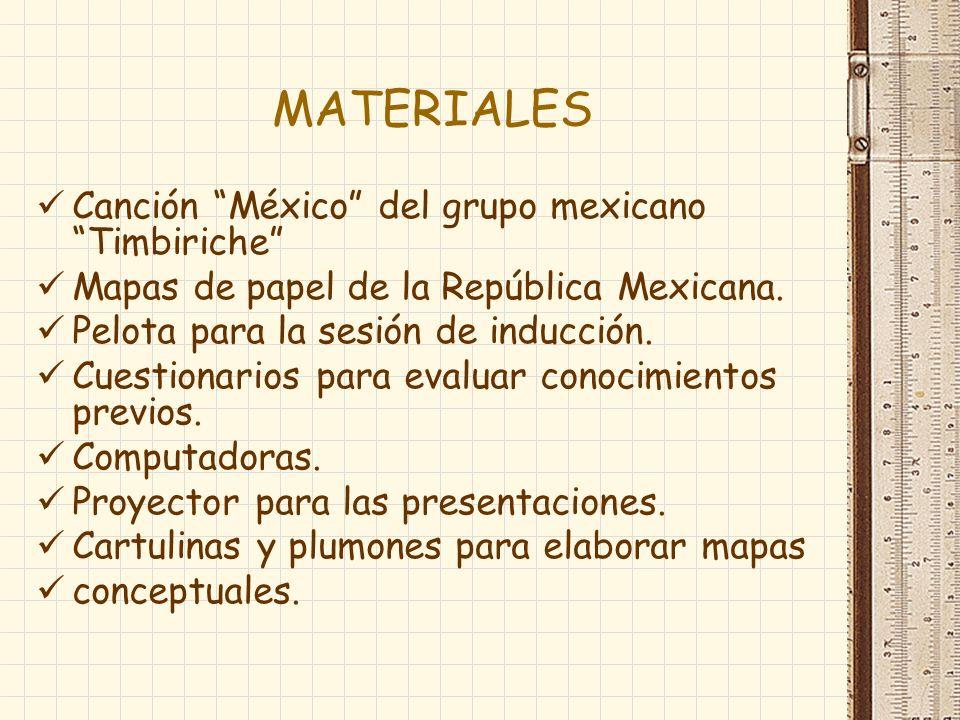 MATERIALES Canción México del grupo mexicano Timbiriche