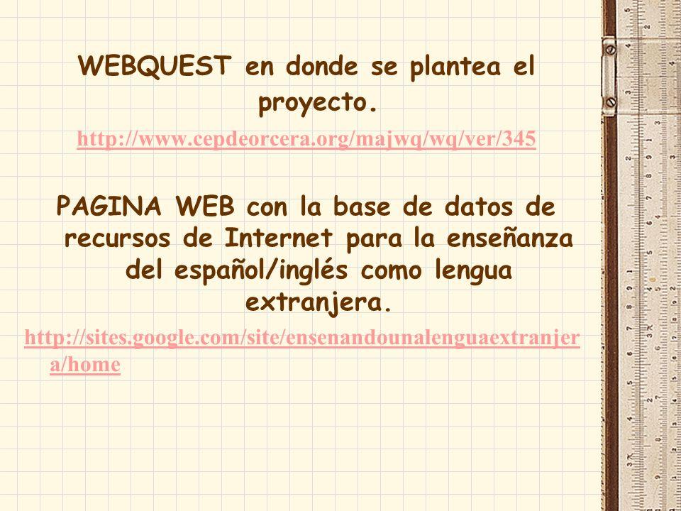 WEBQUEST en donde se plantea el proyecto.