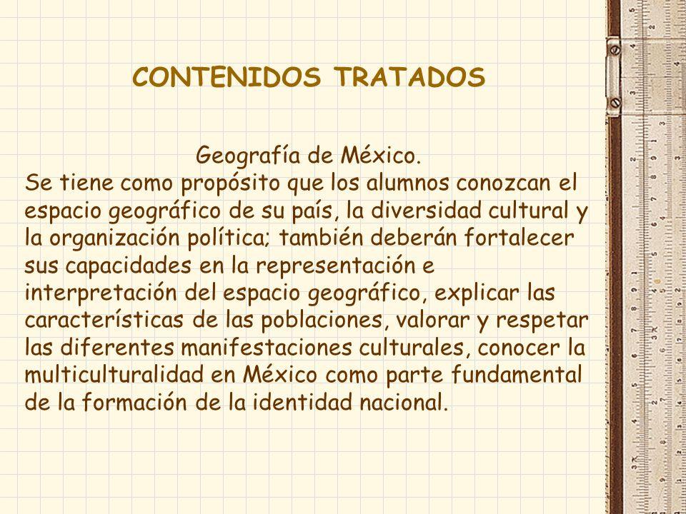 CONTENIDOS TRATADOS Geografía de México.