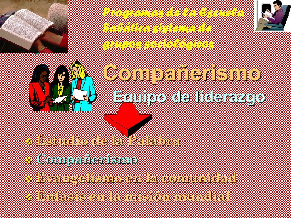 Programas de la Escuela Sabática sistema de grupos sociológicos
