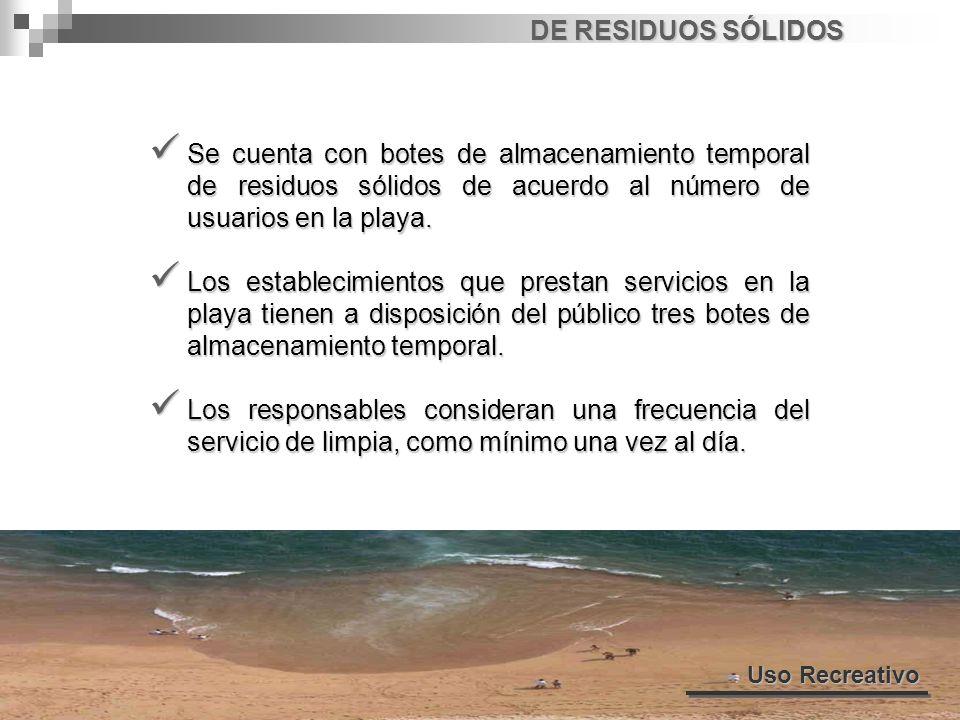 DE RESIDUOS SÓLIDOS Se cuenta con botes de almacenamiento temporal de residuos sólidos de acuerdo al número de usuarios en la playa.