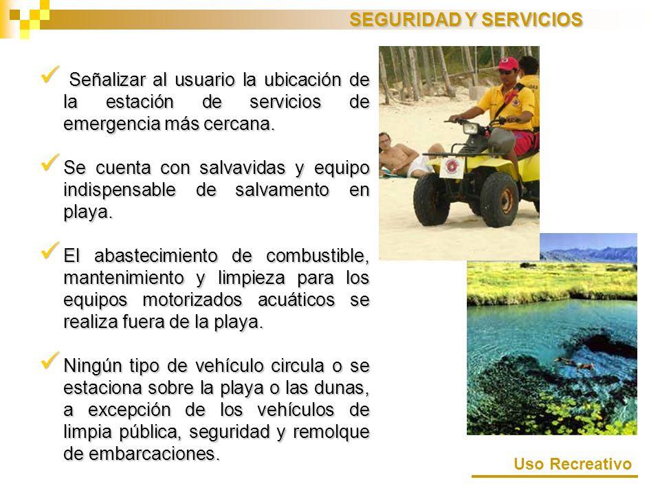 SEGURIDAD Y SERVICIOS Señalizar al usuario la ubicación de la estación de servicios de emergencia más cercana.