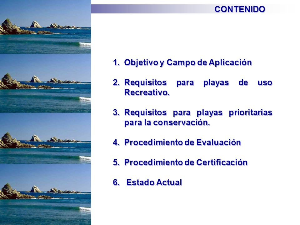 CONTENIDO Objetivo y Campo de Aplicación. Requisitos para playas de uso Recreativo. Requisitos para playas prioritarias para la conservación.