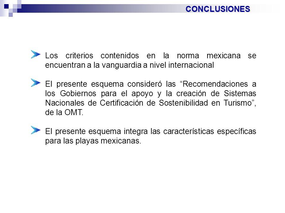 CONCLUSIONES Los criterios contenidos en la norma mexicana se encuentran a la vanguardia a nivel internacional.