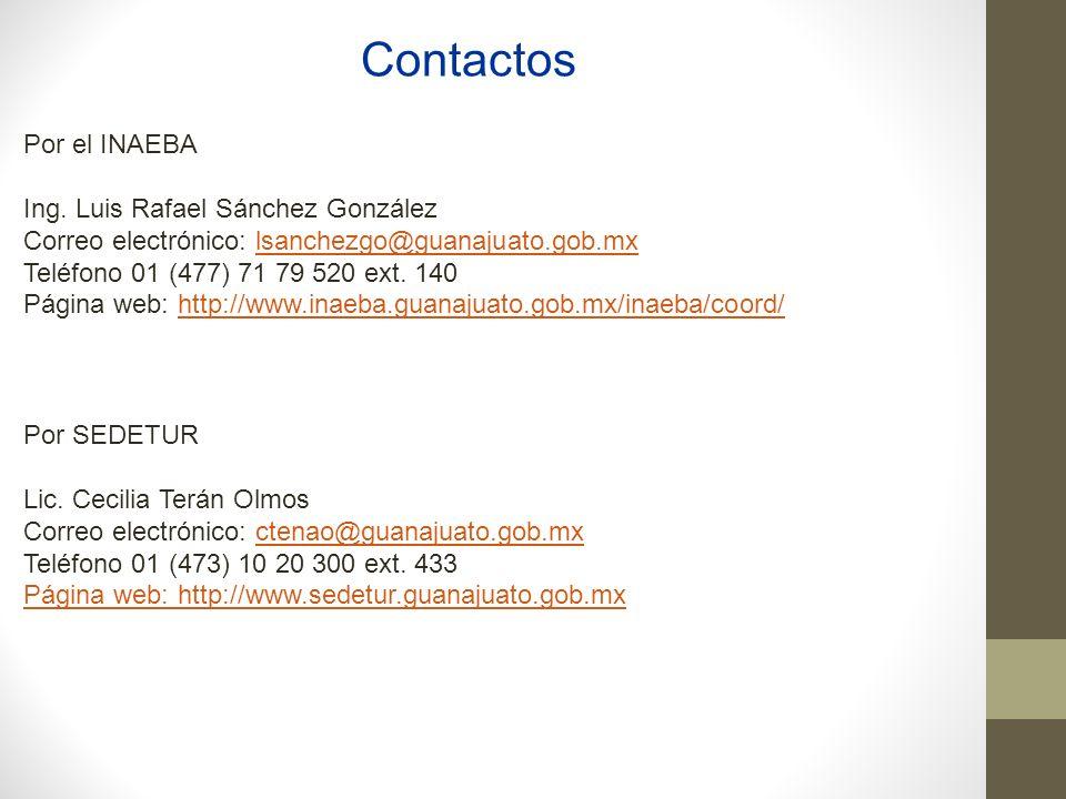 Contactos Por el INAEBA Ing. Luis Rafael Sánchez González