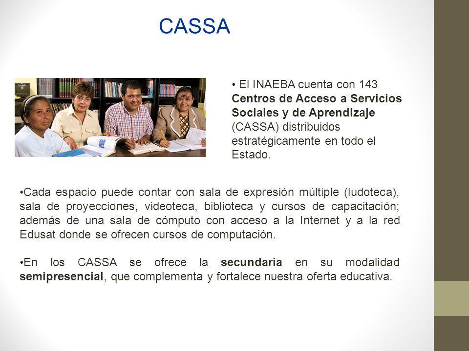 CASSA El INAEBA cuenta con 143 Centros de Acceso a Servicios Sociales y de Aprendizaje (CASSA) distribuidos estratégicamente en todo el Estado.