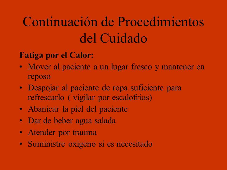 Continuación de Procedimientos del Cuidado