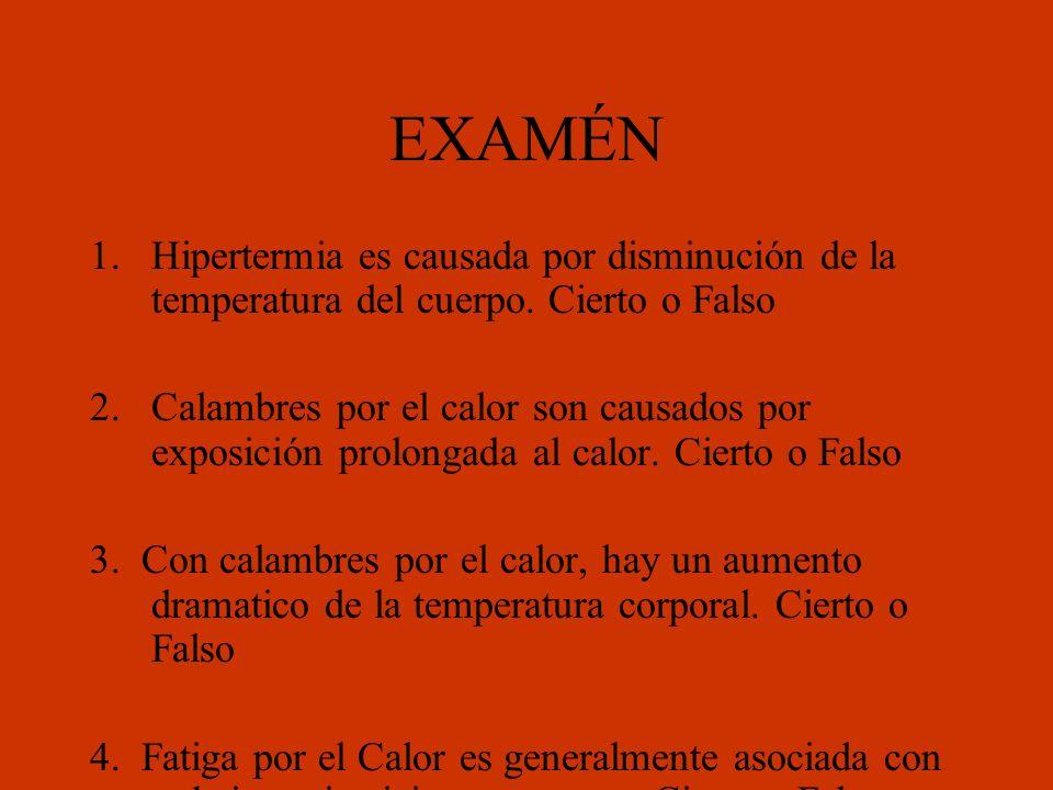 EXAMÉN Hipertermia es causada por disminución de la temperatura del cuerpo. Cierto o Falso.