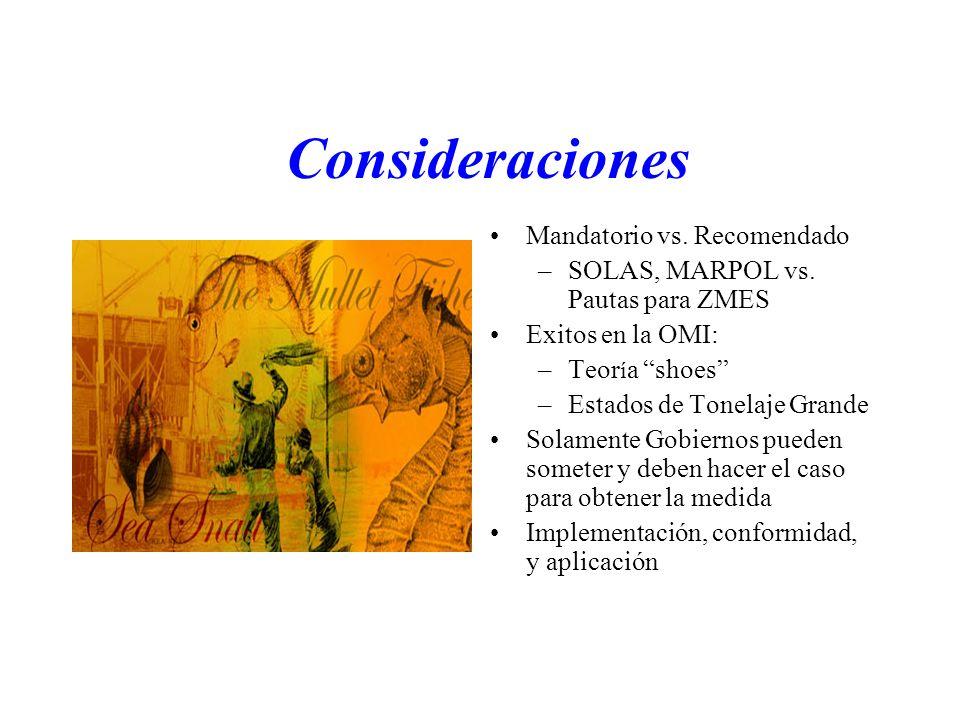 Consideraciones Mandatorio vs. Recomendado