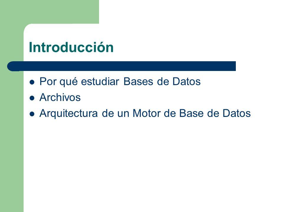 Introducción Por qué estudiar Bases de Datos Archivos