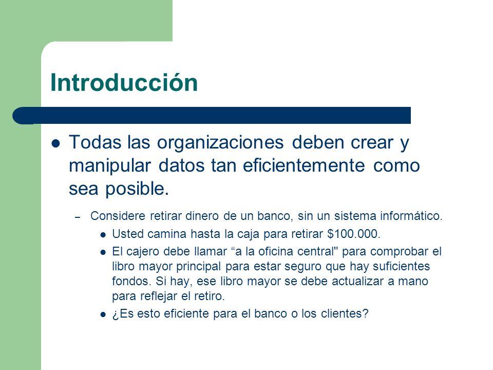 Introducción Todas las organizaciones deben crear y manipular datos tan eficientemente como sea posible.