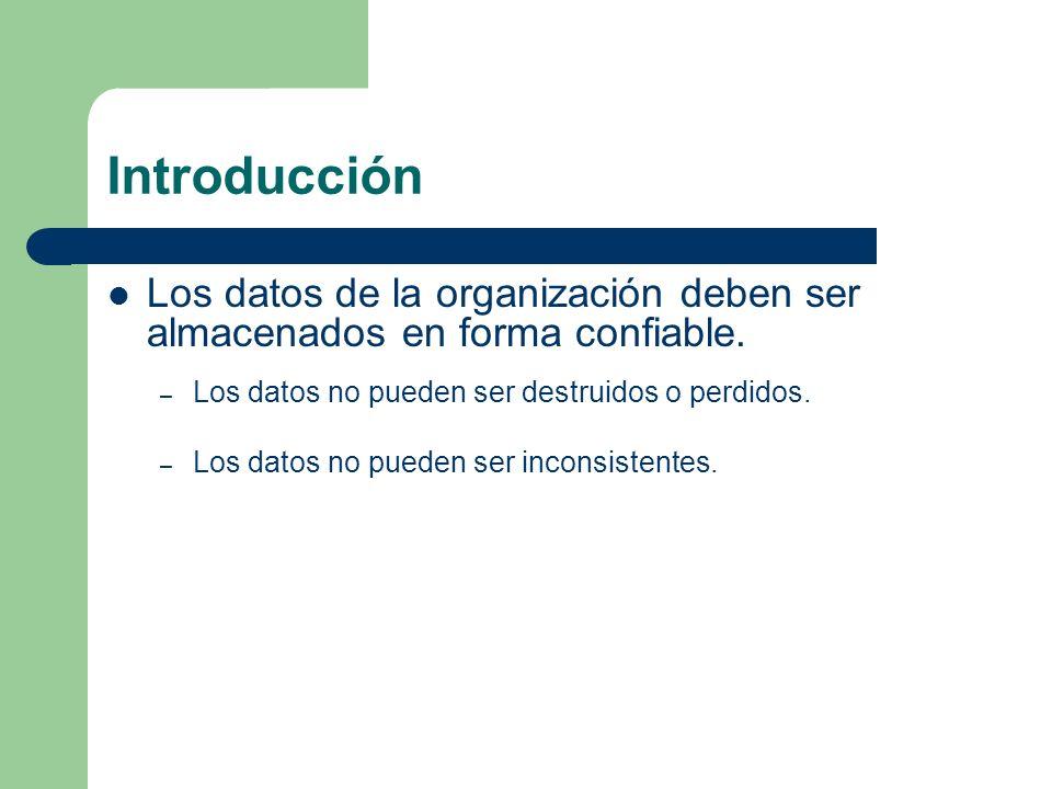 Introducción Los datos de la organización deben ser almacenados en forma confiable. Los datos no pueden ser destruidos o perdidos.