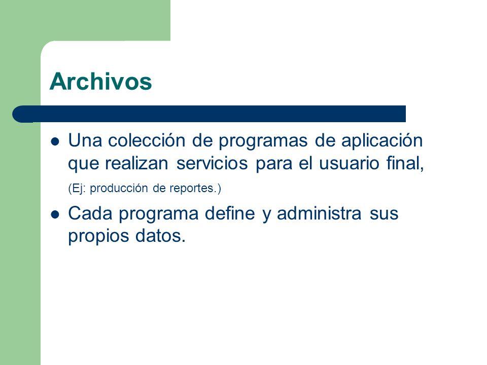 Archivos Una colección de programas de aplicación que realizan servicios para el usuario final, (Ej: producción de reportes.)