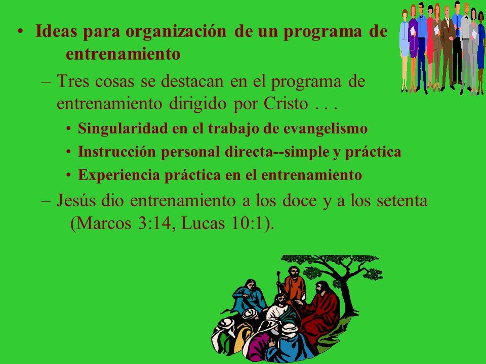Ideas para organización de un programa de entrenamiento