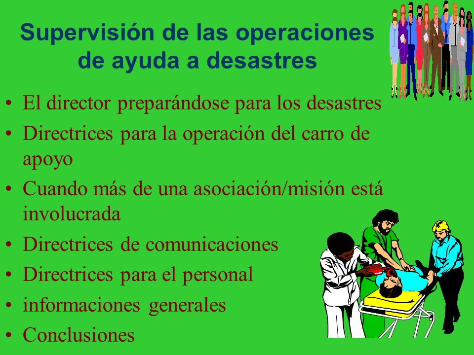 Supervisión de las operaciones de ayuda a desastres