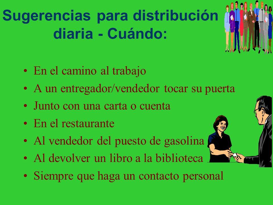 Sugerencias para distribución diaria - Cuándo: