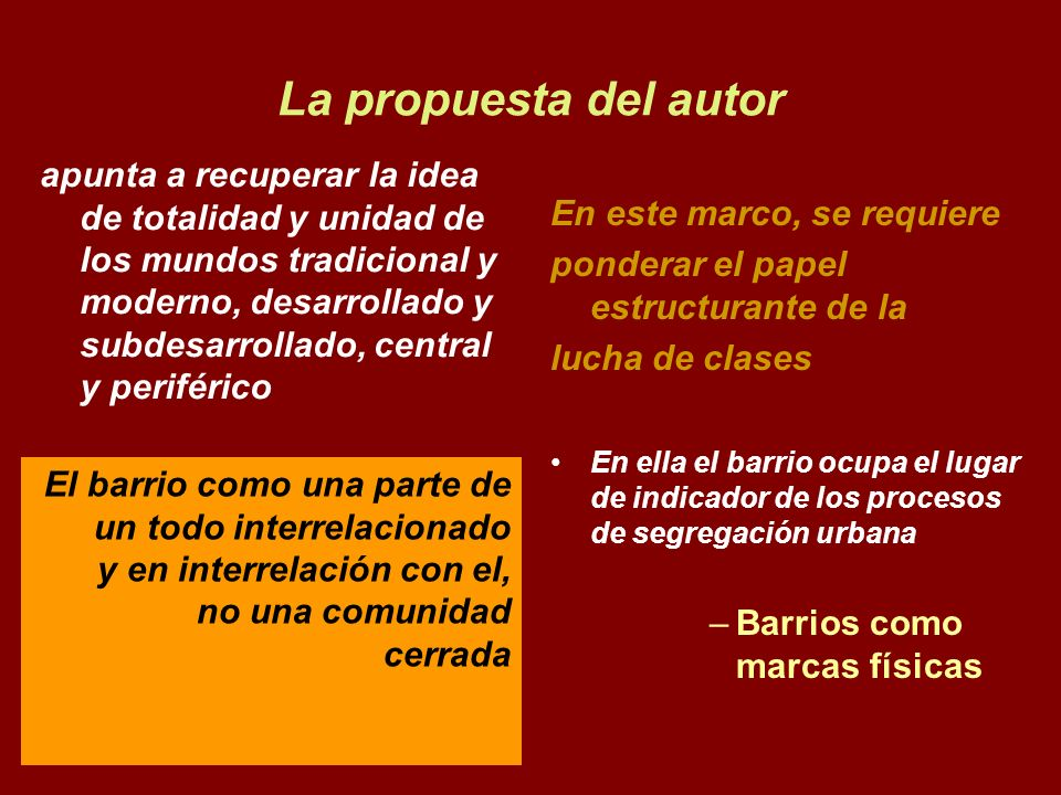 La propuesta del autor