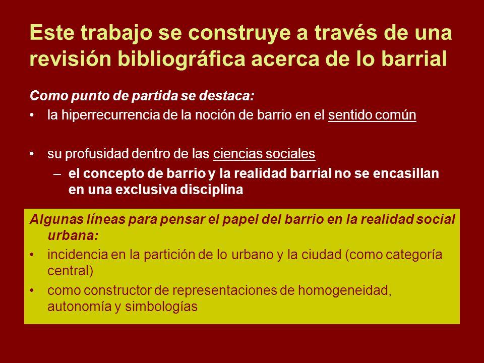 Este trabajo se construye a través de una revisión bibliográfica acerca de lo barrial