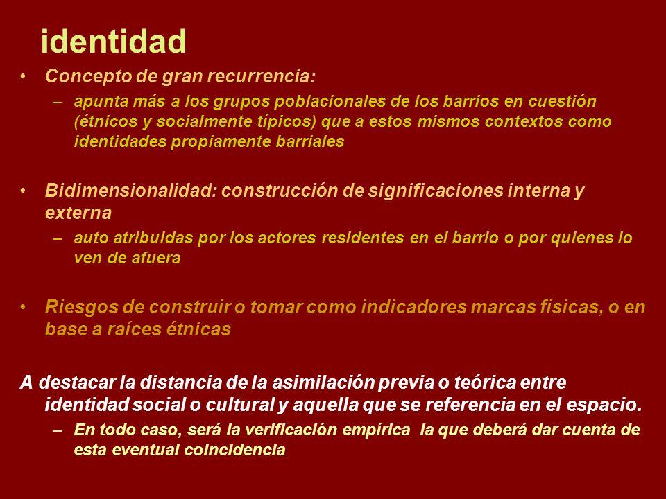 identidad Concepto de gran recurrencia: