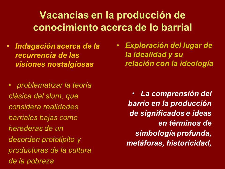 Vacancias en la producción de conocimiento acerca de lo barrial