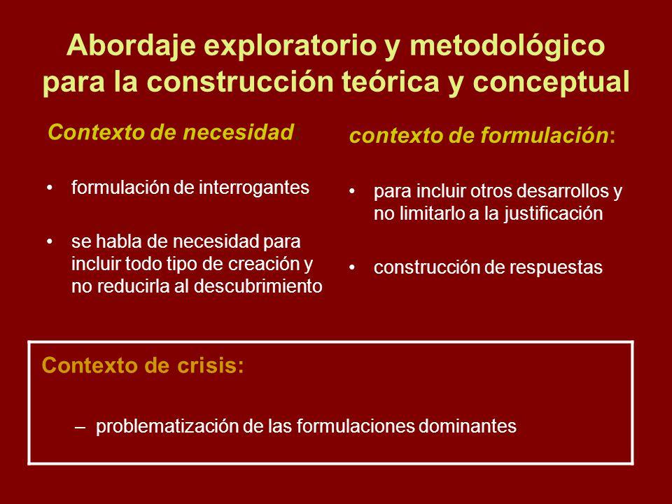 Abordaje exploratorio y metodológico para la construcción teórica y conceptual
