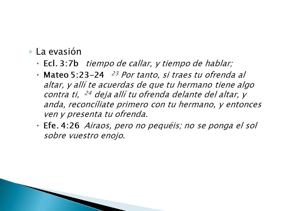 La evasión Ecl. 3:7b tiempo de callar, y tiempo de hablar;