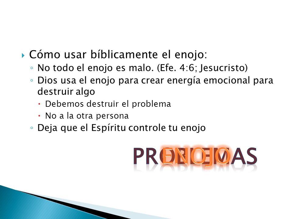 PROBLEMAS ENOJO Cómo usar bíblicamente el enojo: