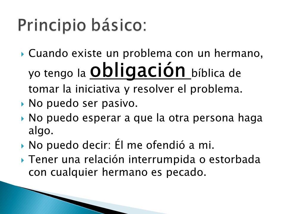 Principio básico: Cuando existe un problema con un hermano, yo tengo la obligación bíblica de tomar la iniciativa y resolver el problema.