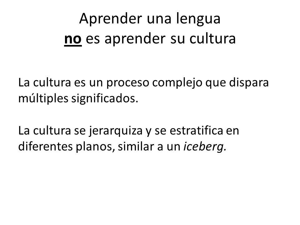 Aprender una lengua no es aprender su cultura