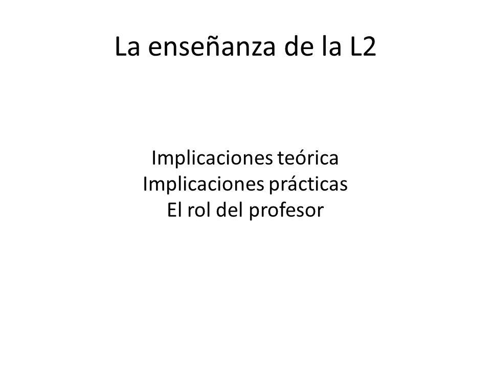 Implicaciones teórica Implicaciones prácticas El rol del profesor