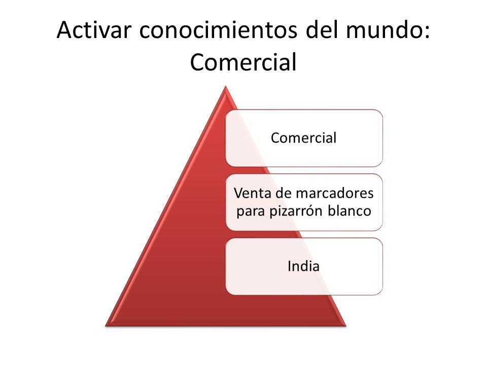 Activar conocimientos del mundo: Comercial