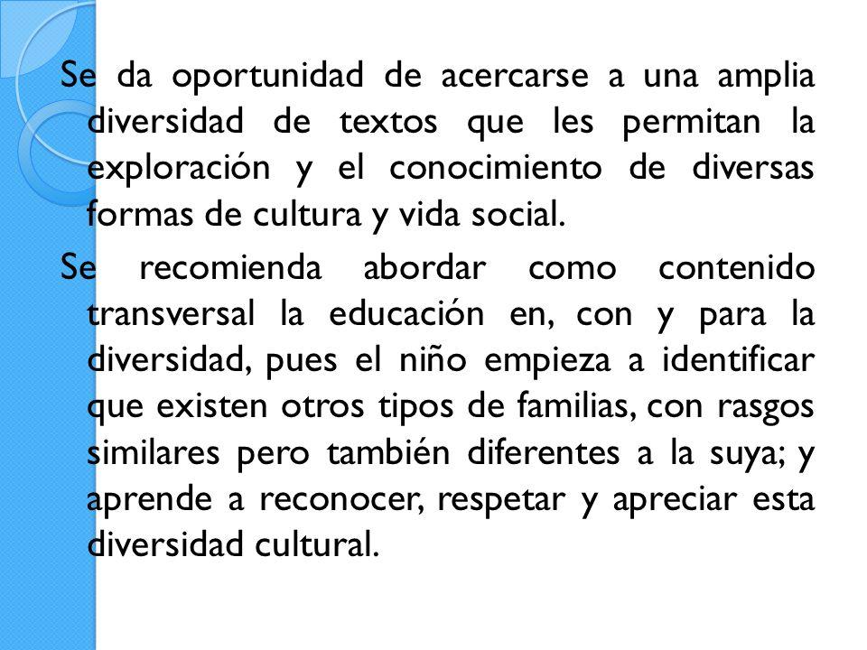 Se da oportunidad de acercarse a una amplia diversidad de textos que les permitan la exploración y el conocimiento de diversas formas de cultura y vida social.