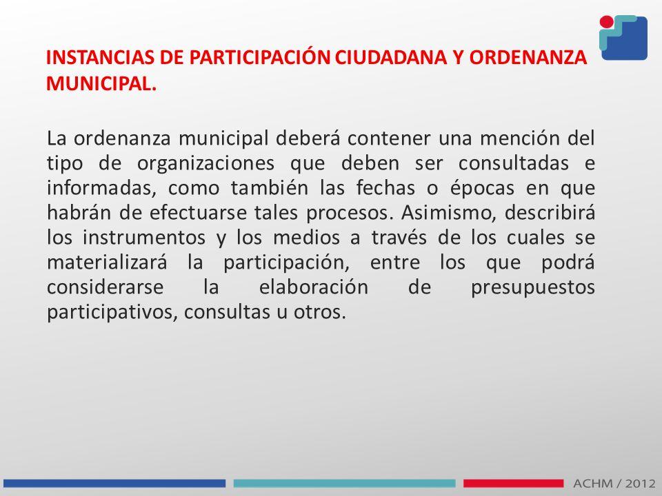 INSTANCIAS DE PARTICIPACIÓN CIUDADANA Y ORDENANZA MUNICIPAL.