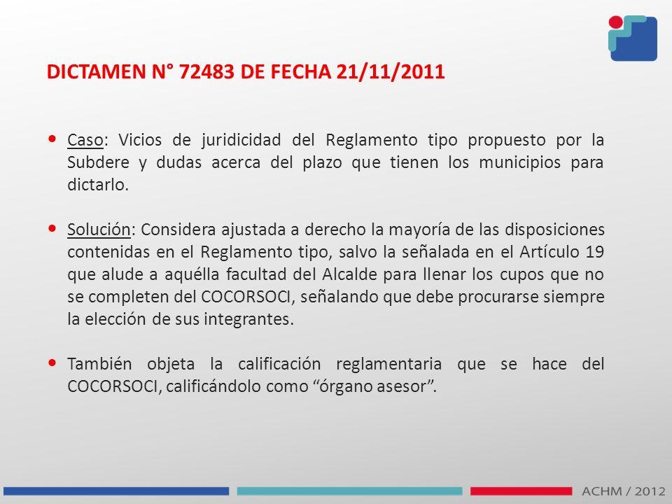 DICTAMEN N° 72483 DE FECHA 21/11/2011