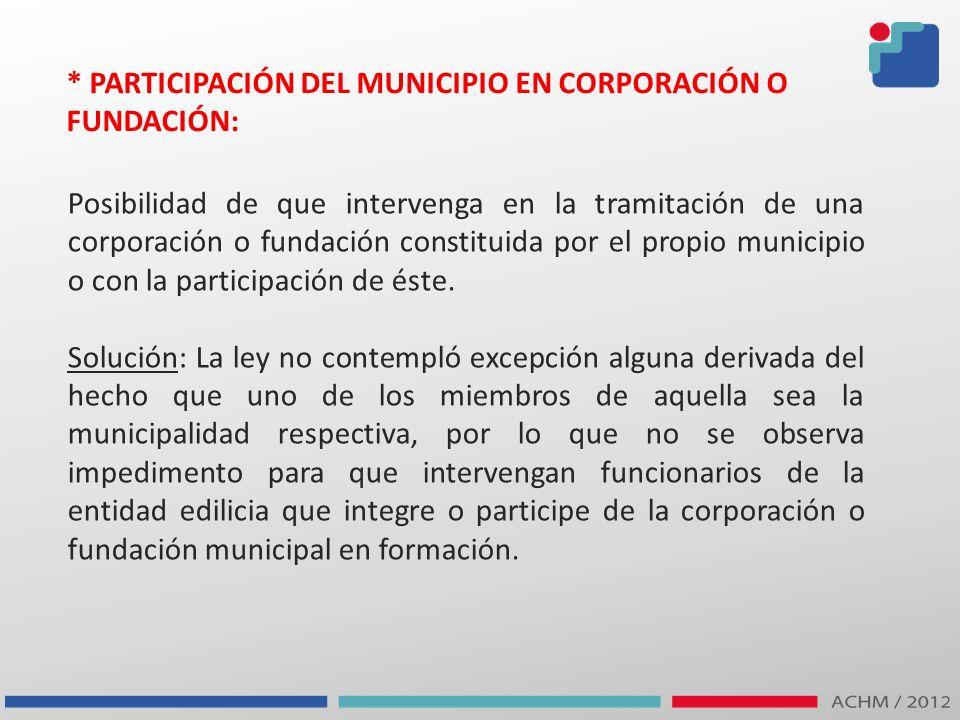 * PARTICIPACIÓN DEL MUNICIPIO EN CORPORACIÓN O FUNDACIÓN: