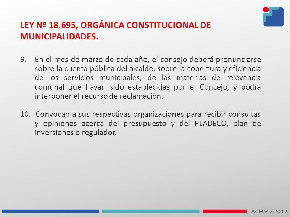 LEY Nº 18.695, ORGÁNICA CONSTITUCIONAL DE MUNICIPALIDADES.