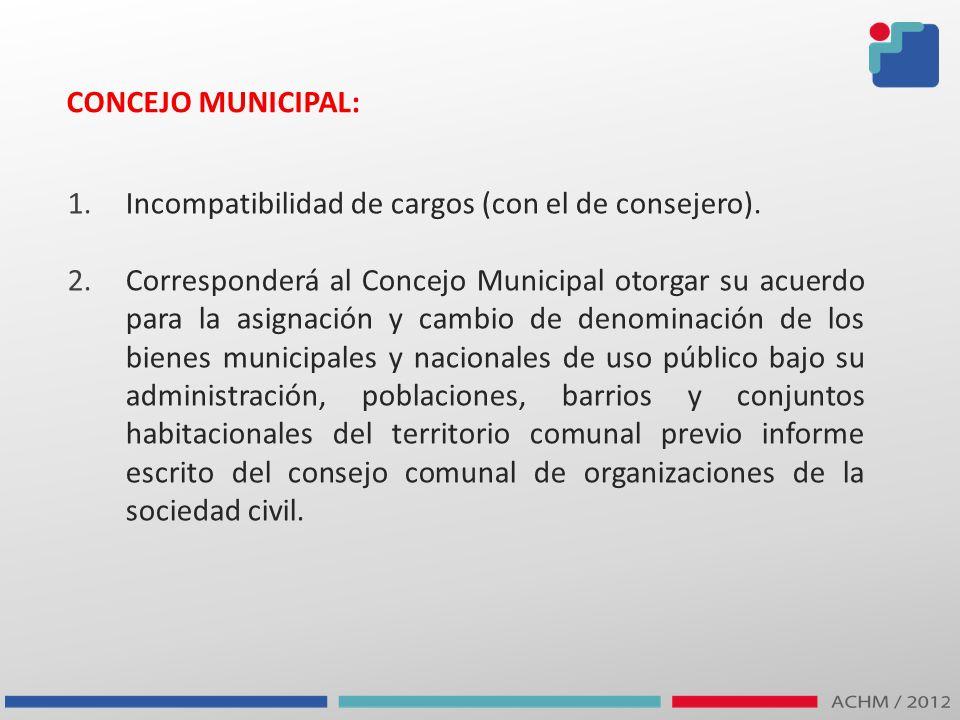 CONCEJO MUNICIPAL: Incompatibilidad de cargos (con el de consejero).