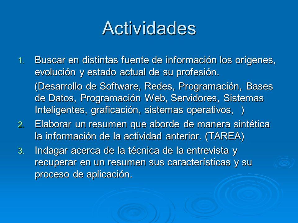 Actividades Buscar en distintas fuente de información los orígenes, evolución y estado actual de su profesión.