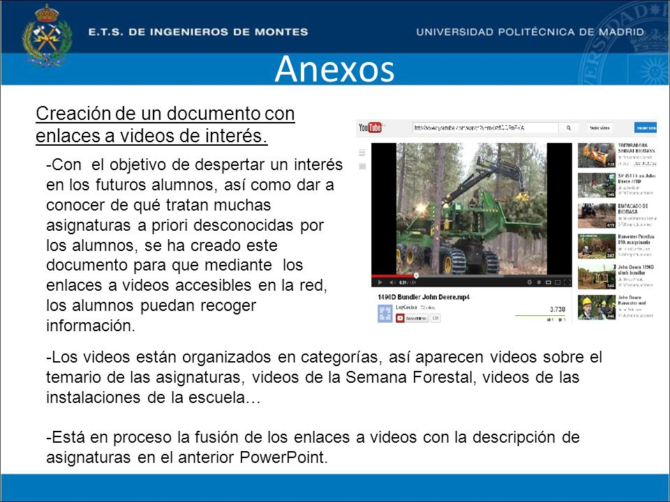 Anexos Creación de un documento con enlaces a videos de interés.