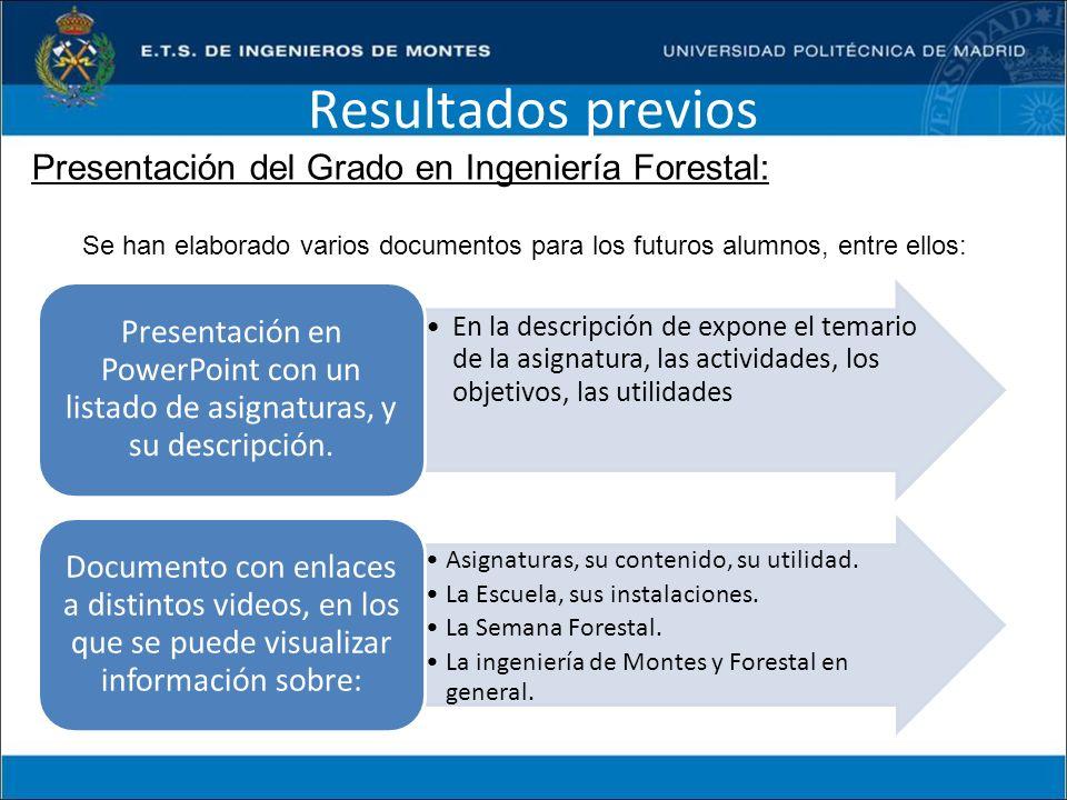 Resultados previos Presentación del Grado en Ingeniería Forestal: