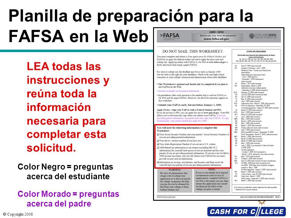 Planilla de preparación para la FAFSA en la Web