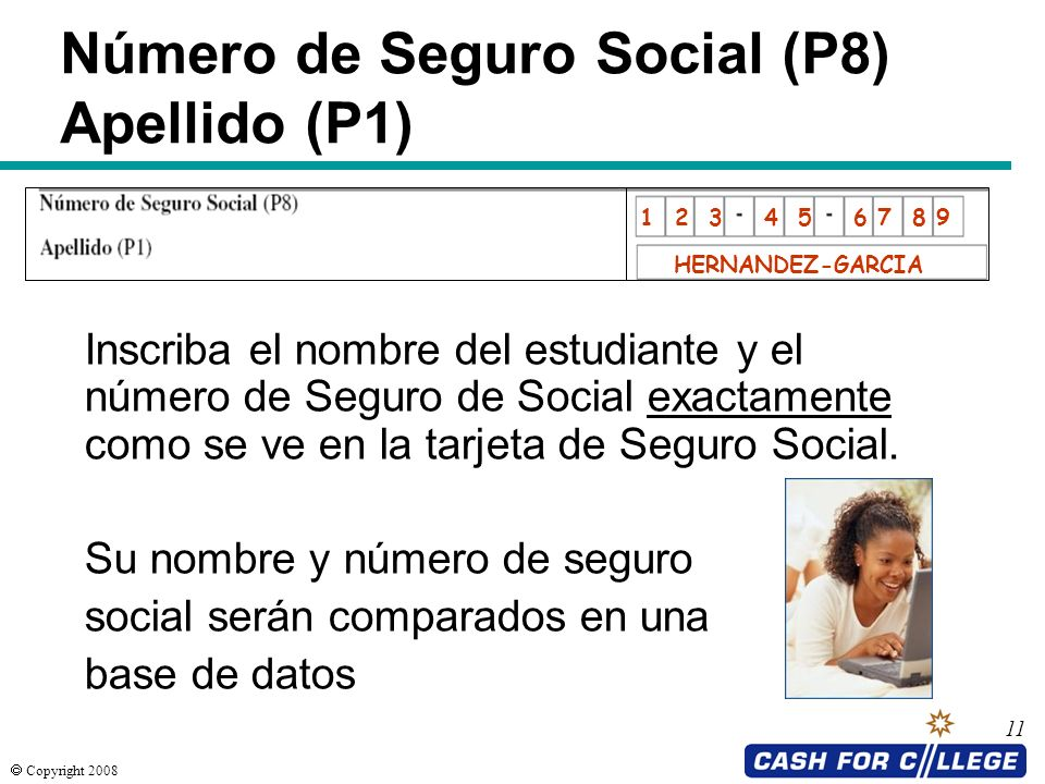 Número de Seguro Social (P8) Apellido (P1)