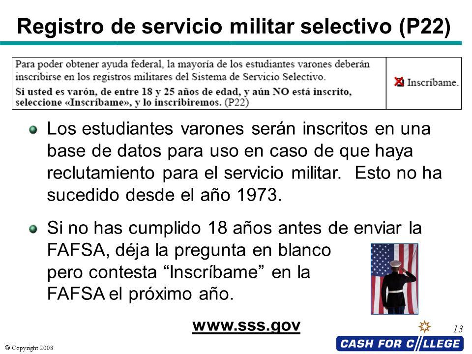Registro de servicio militar selectivo (P22)