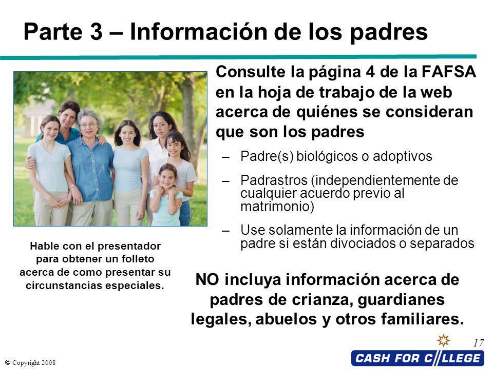 Parte 3 – Información de los padres