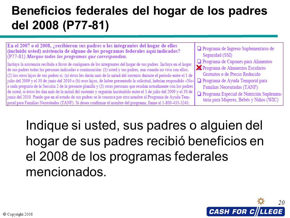 Beneficios federales del hogar de los padres del 2008 (P77-81)
